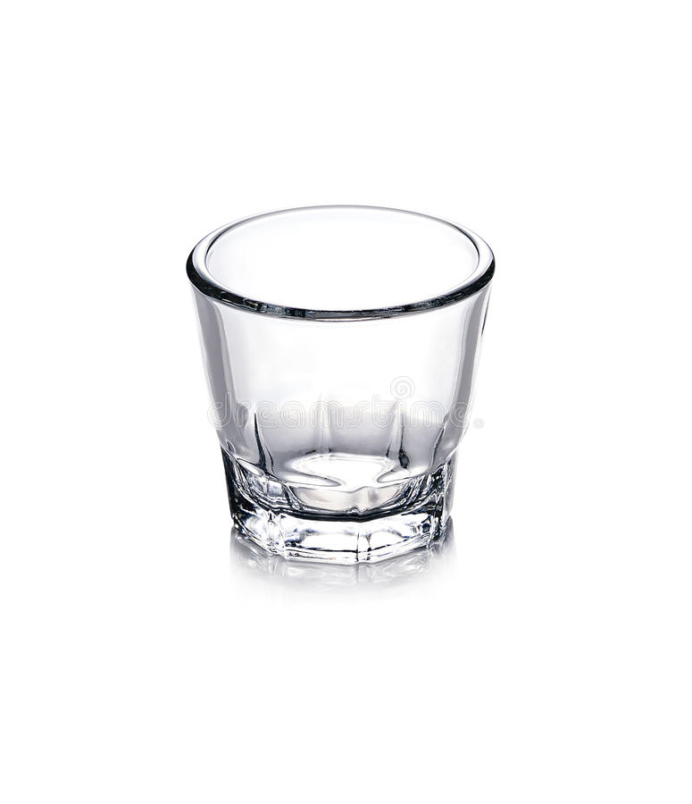 Empty glass for whiskey on white background royalty free stock image