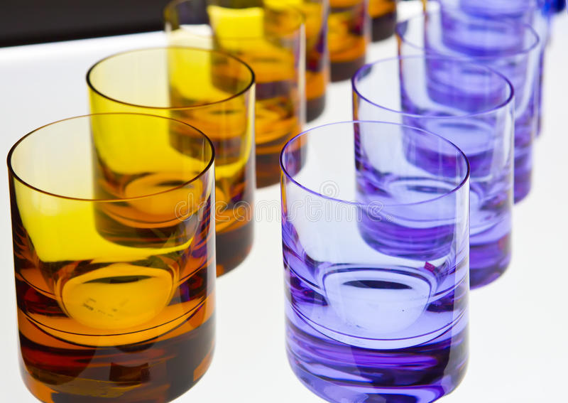 Empty glasses stands on the table stock photo