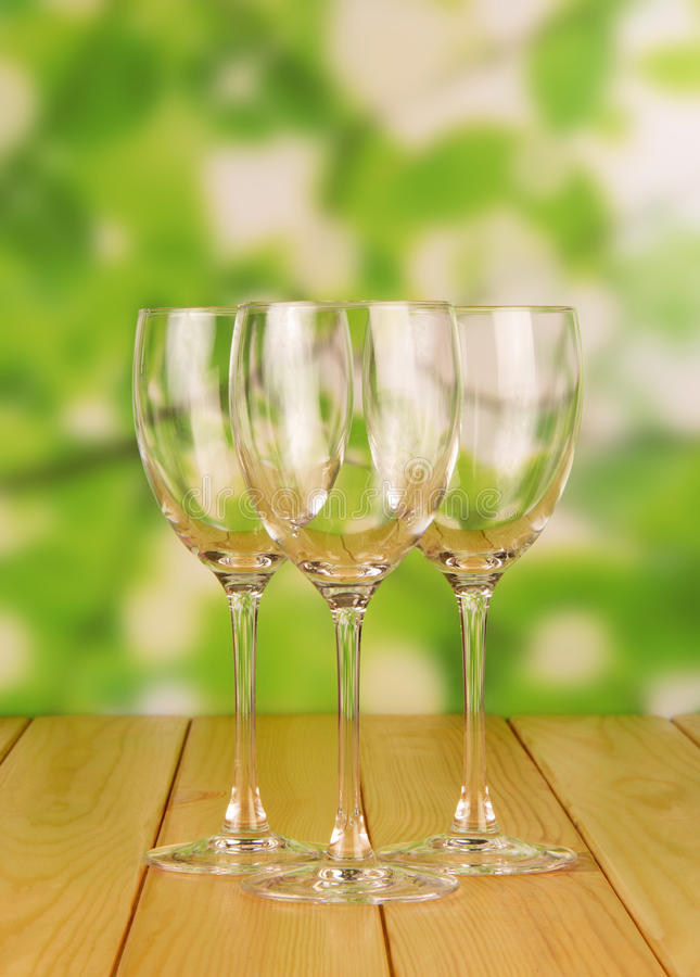 Empty Glasses on table stock images