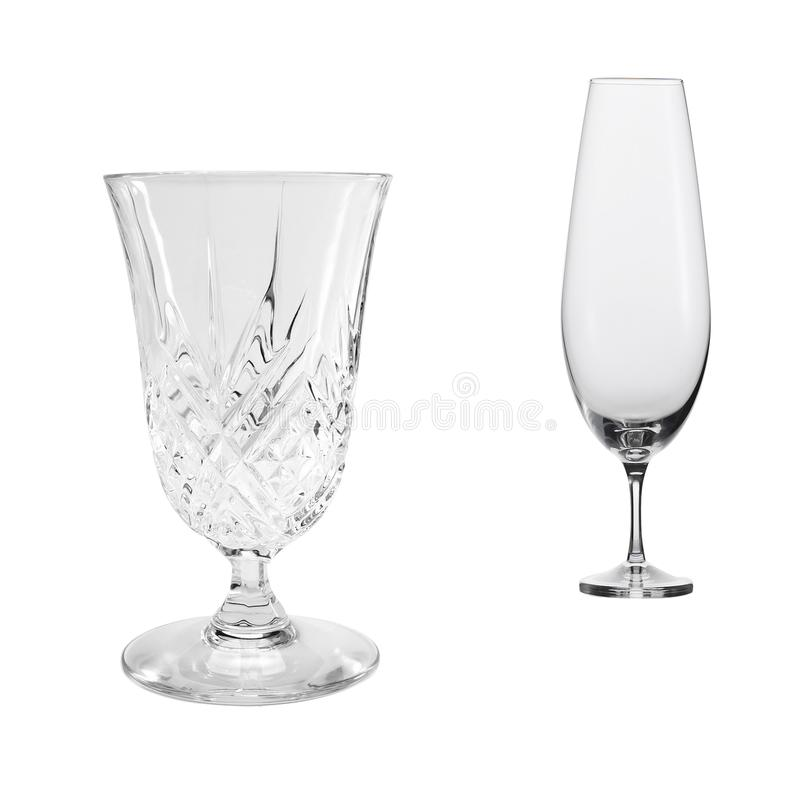 Empty glasses of wine and cognac isolated stock photos