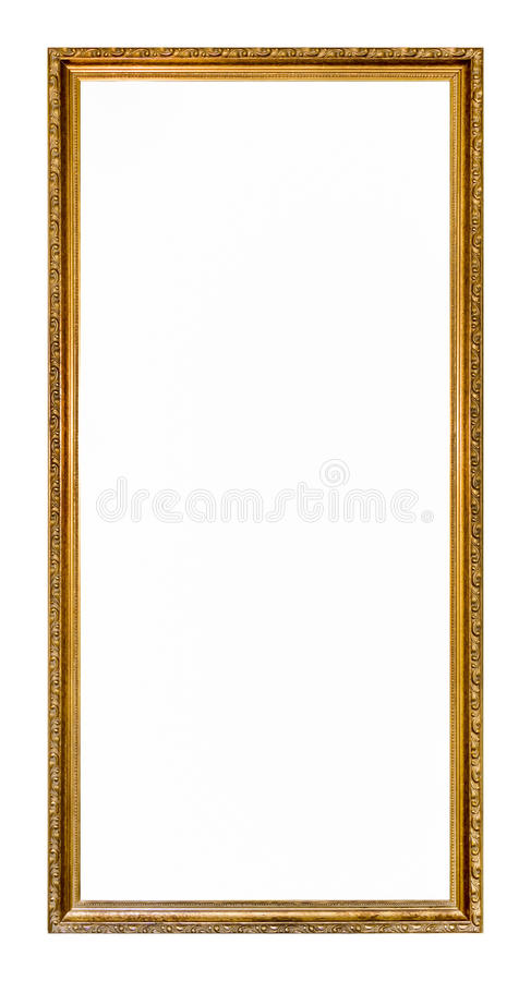 Empty gold colored picture frame. Ornate gold colored home picture frame with blank center (copy space stock images