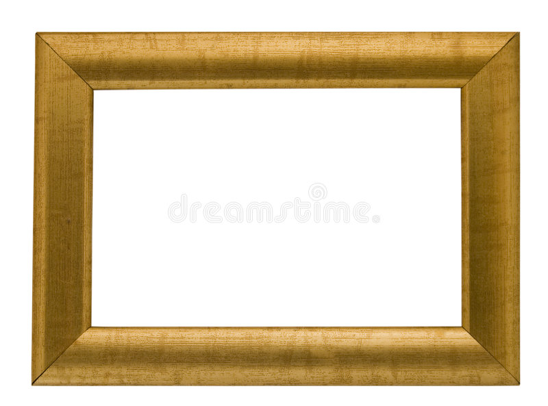 Empty gold coloured frame,clipping path royalty free stock image