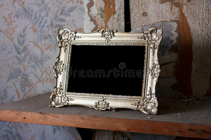 Download Empty Gold Frame On A Shelf Stock Photo - Image of forget, blank: 16872720