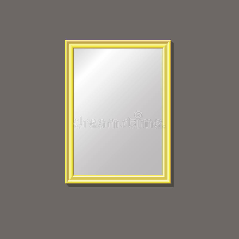 Empty gold frame on the wal royalty free stock photo