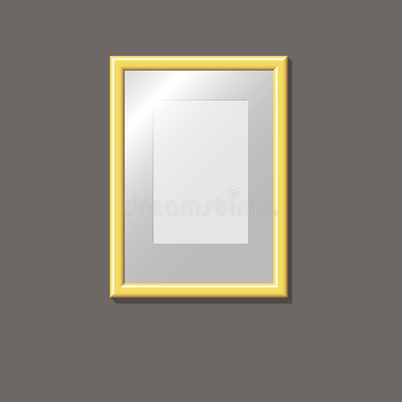 Empty gold frame on the wall stock photography