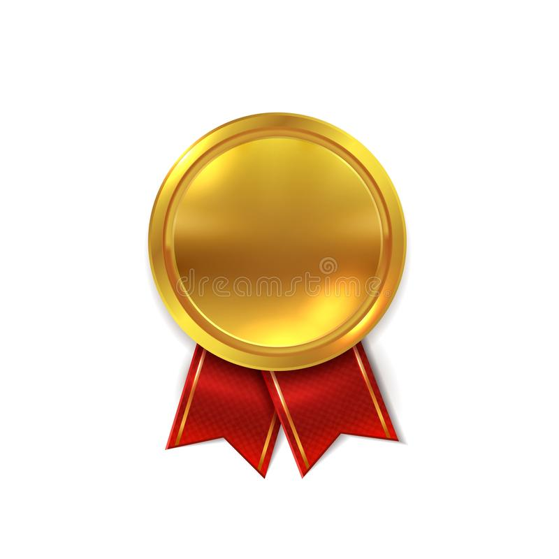 Empty gold medal. Shiny golden round seal for certificate or winner star award realistic vector illustration. Empty gold medal. Shiny golden round seal for vector illustration