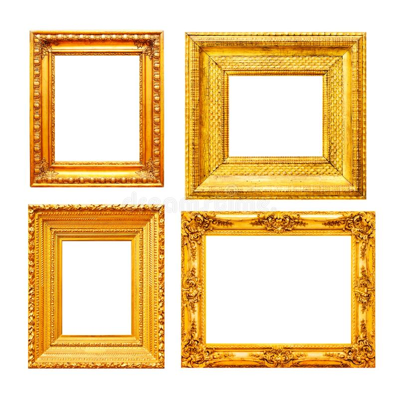 Empty gold painting frames. Empty gold painting frame set isolated on white background royalty free stock image