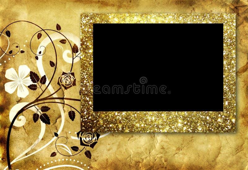 Empty golden frame on old paper background stock illustration