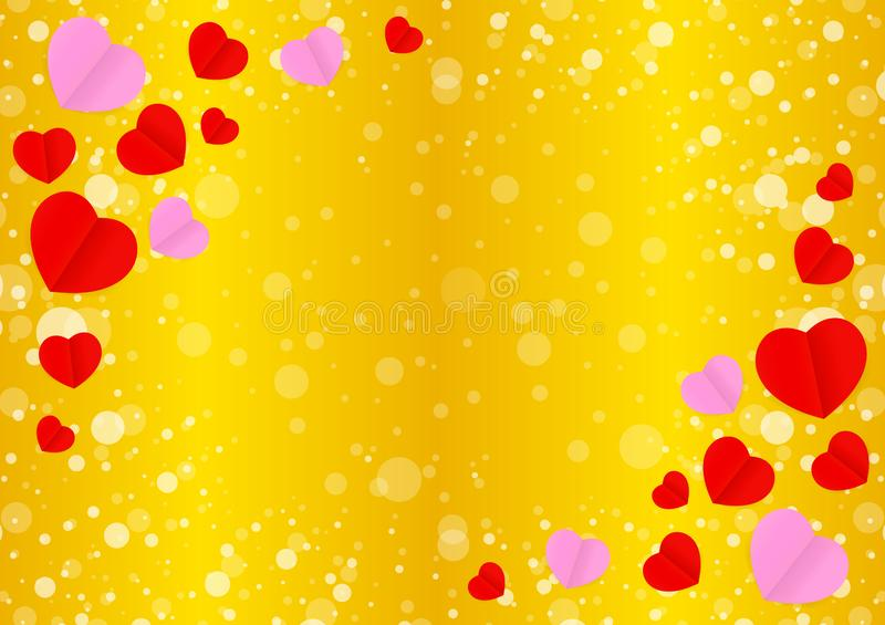 Empty golden frame and red pink heart shape for template banner valentines gold background, many hearts shape on gold gradient vector illustration