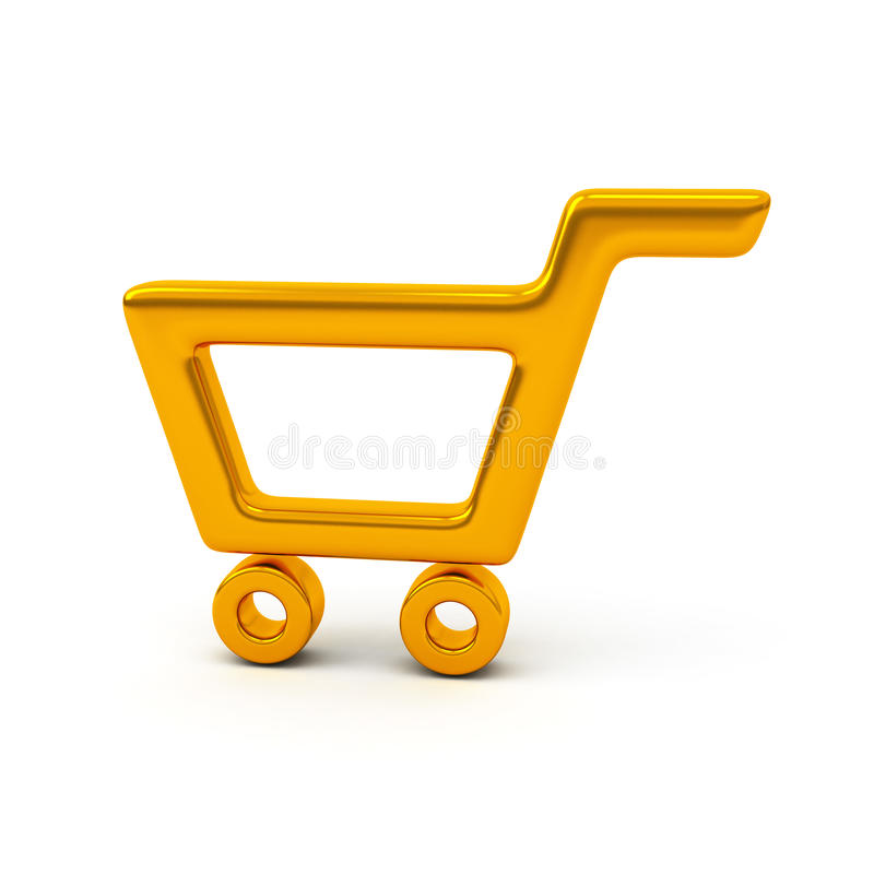 Empty golden shopping cart, 3d royalty free illustration