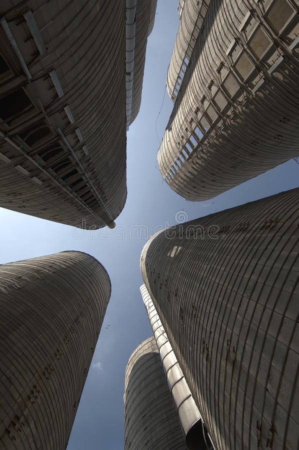 Empty granary towers stock photo