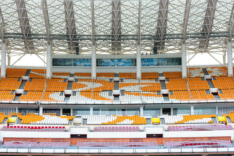 Empty grandstand seat. In the Haixinsha Asian Games Park stock photo