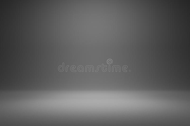 Empty gray background and spotlight with studio for showing or design. Blank backdrop made from cement material. Realistic 3D. Render royalty free illustration