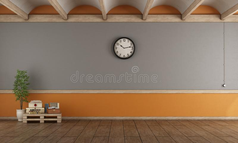 Empty gray and orange living room stock illustration