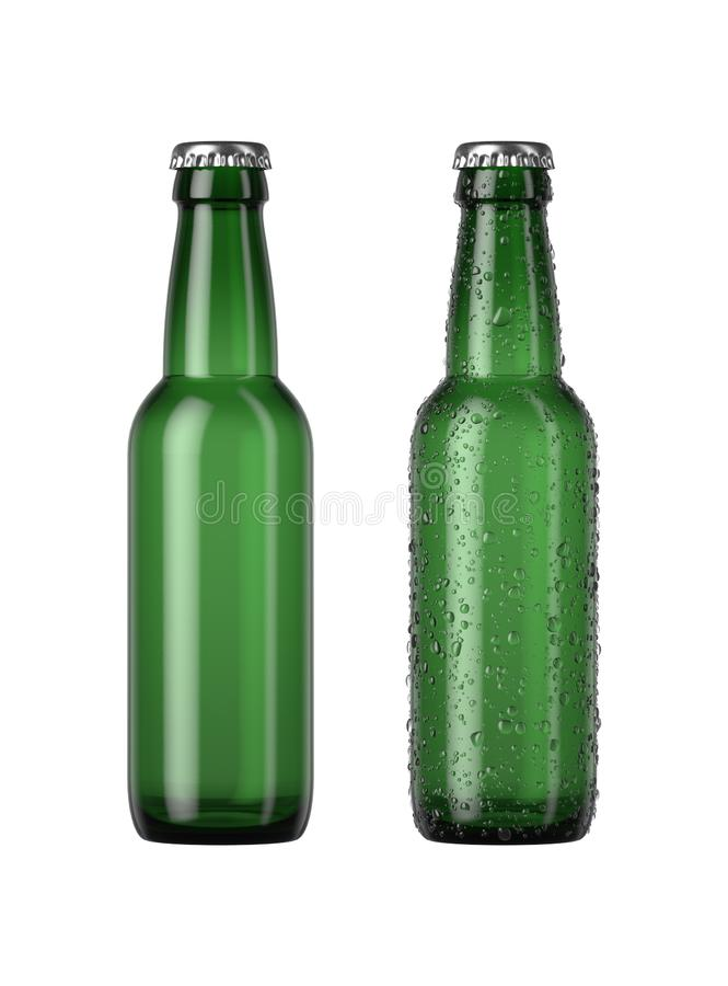 Empty Green Beer Bottle. A plain green glass beer bottle next to another with droplets of condensation on an isolated white studio background - 3D render royalty free illustration