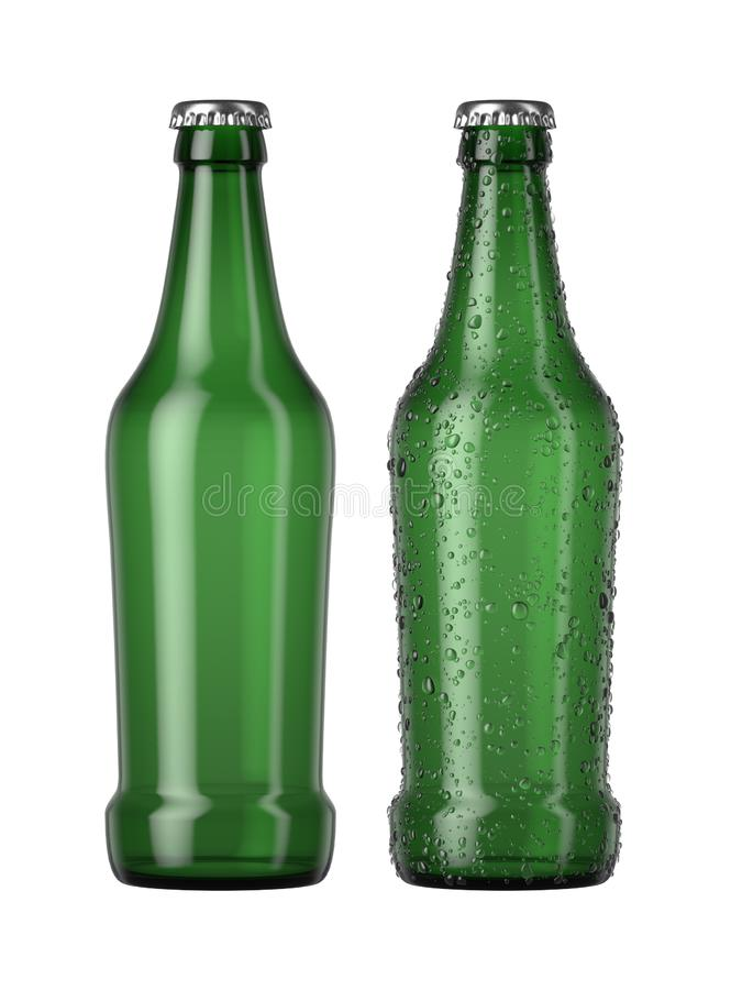 Empty Green Beer Bottle. A plain green glass beer bottle next to another with droplets of condensation on an isolated white studio background - 3D render vector illustration