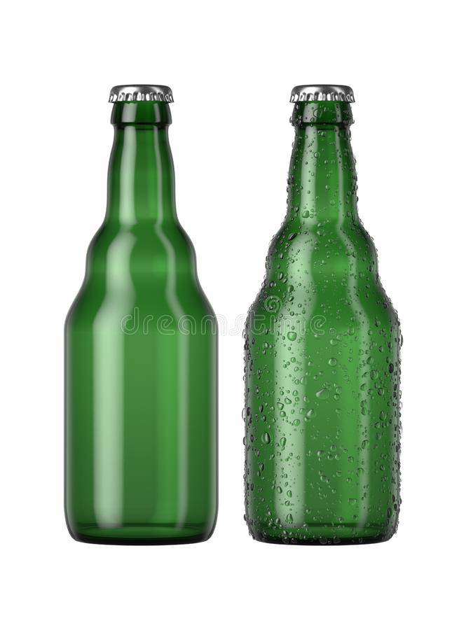 Empty Green Beer Bottle. A plain green glass beer bottle next to another with droplets of condensation on an isolated white studio background - 3D render stock illustration