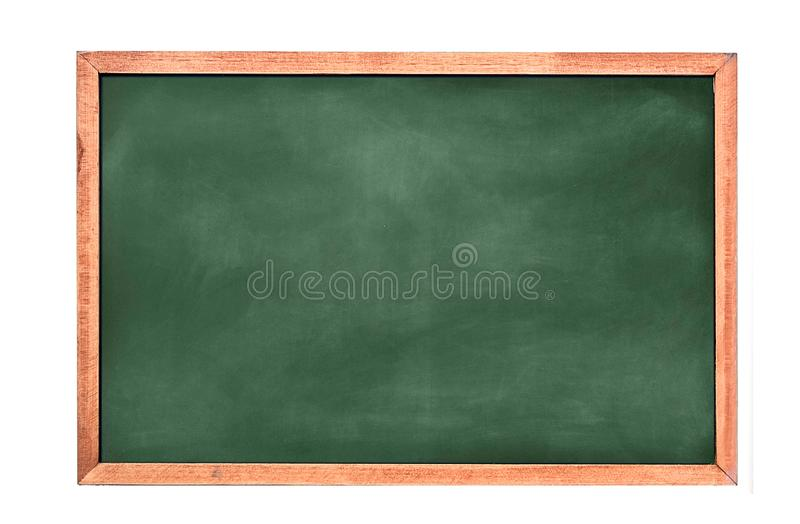 Empty green chalkboard texture hang on the white wall. double frame from green board and white background. stock photo
