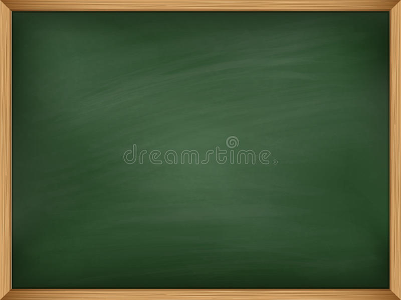 Empty green chalkboard with wooden frame. Template royalty free illustration