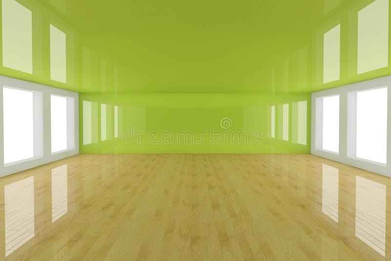Empty green interior room stock illustration