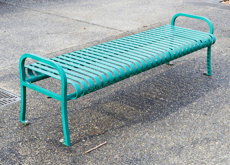 Empty Green Metal Bench Royalty Free Stock Photography
