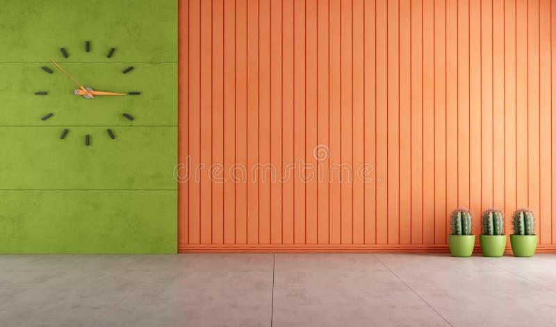 Empty green and orange room stock illustration