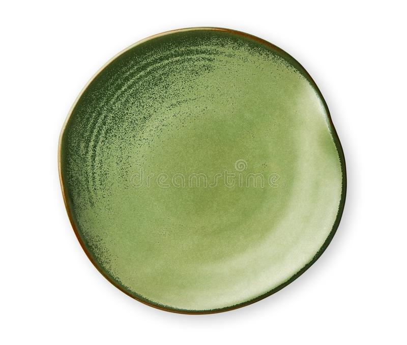 Empty green plate with wavy edge, Frilled plate in wavy pattern, View from above isolated on white background with clipping path stock images