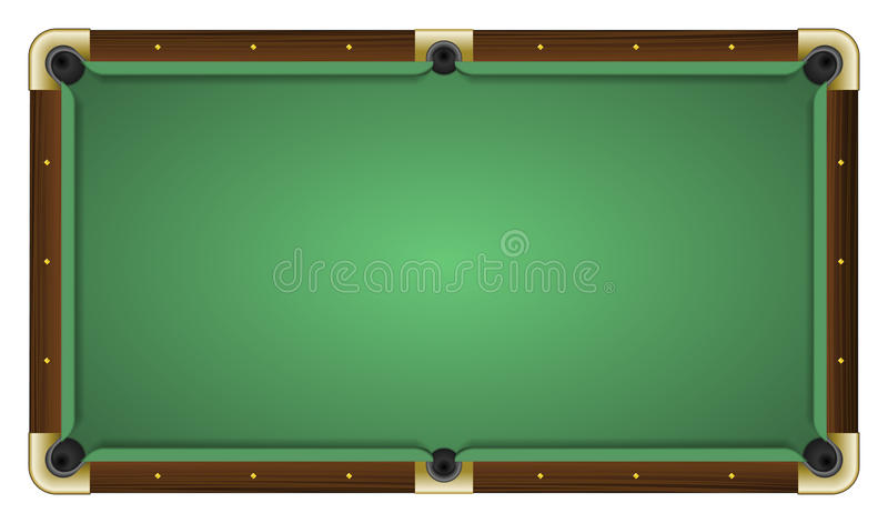 Empty green pool table. Realistic vector illustration of a empty green pool table. All elements sorted and grouped in layers royalty free illustration