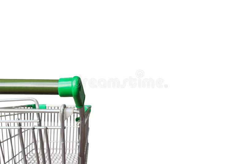 Empty green shopping cart isolated on white background royalty free stock photo