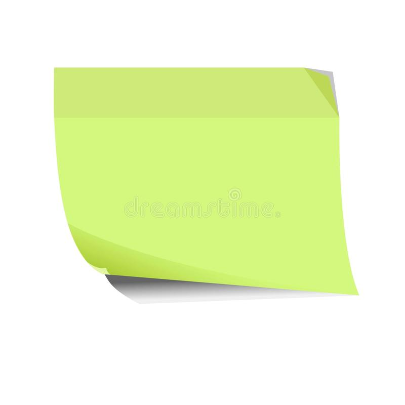 Empty green sticker flat and shadow theme close-up icon. On white background. Sticky label with twisted edges. Vector illustration of stickers in cartoon style vector illustration