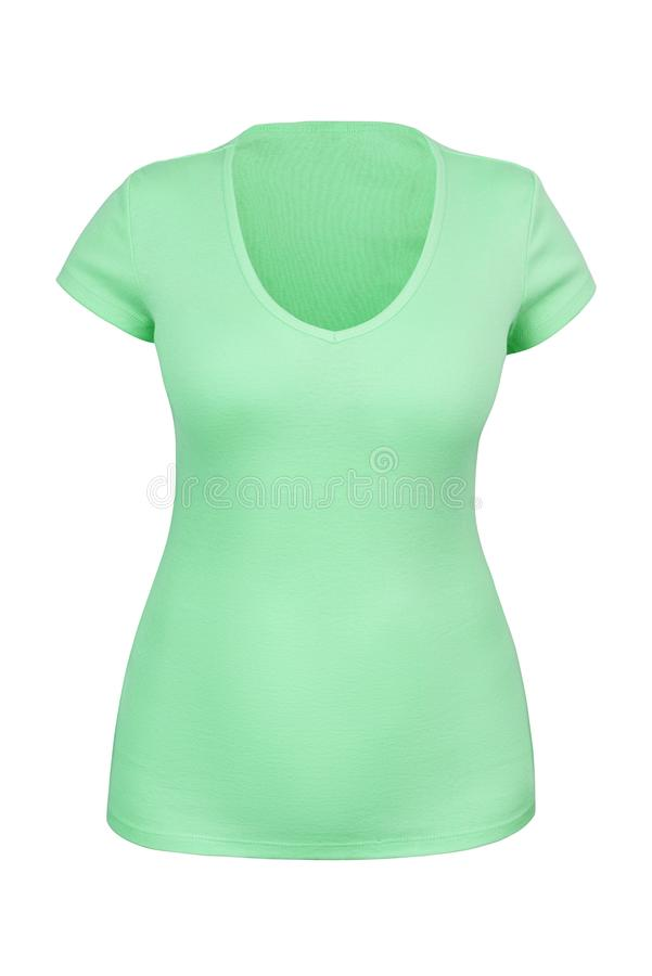 Empty green V neck T-shirt for woman isolated. Empty green V neck T-shirt for woman with invisible or ghost mannequin technique. Isolated. Can be used as mock-up stock photo