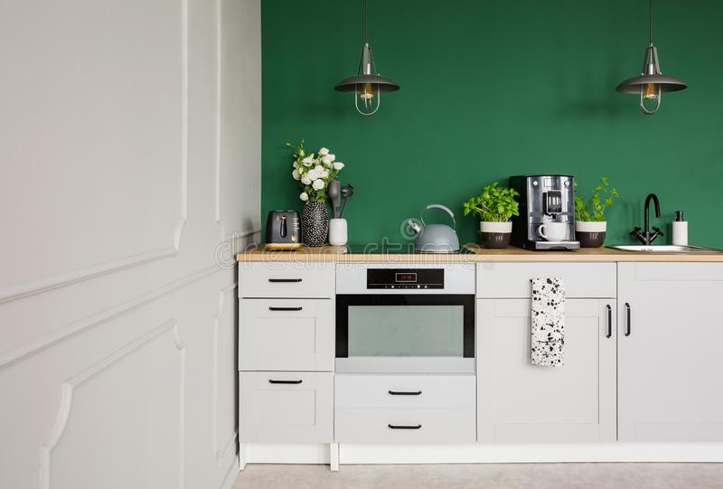 Empty green wall with copy space in elegant kitchen with white furniture,plants and coffee machine stock images