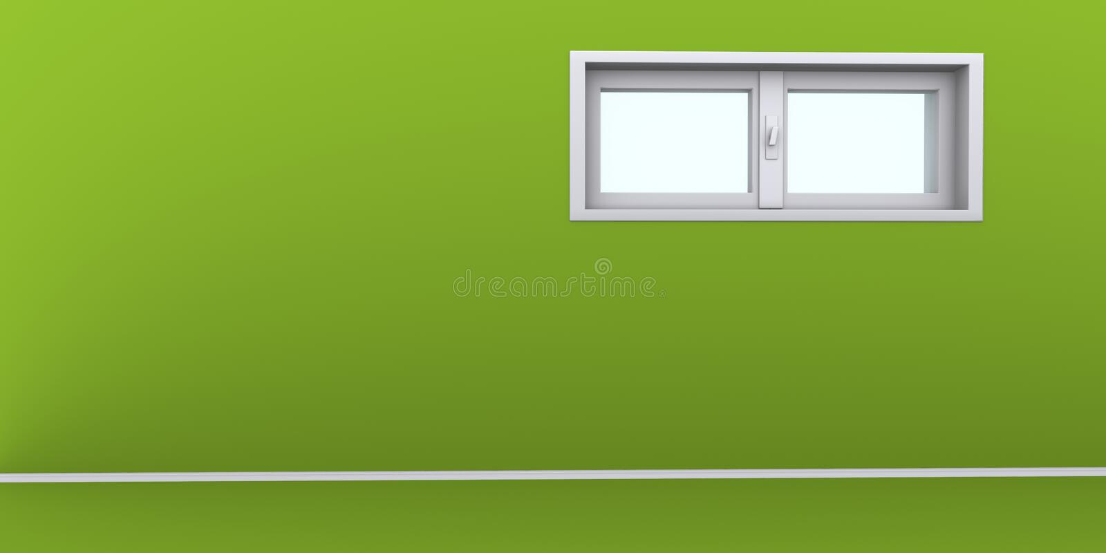 Empty green wall with windows royalty free stock photos