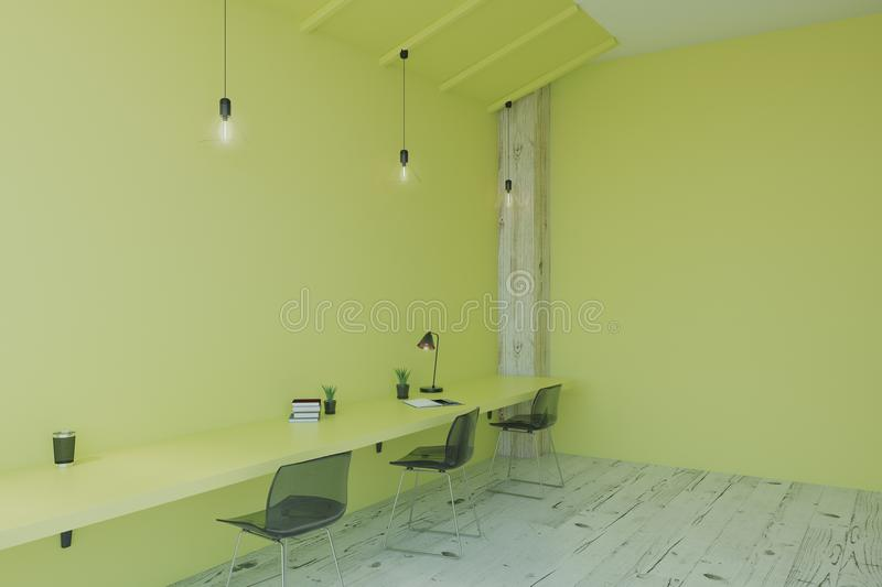 Minimalistic eco style office. Empty green walls with minimalistic furniture and wooden floor in light eco style office. 3D render royalty free illustration
