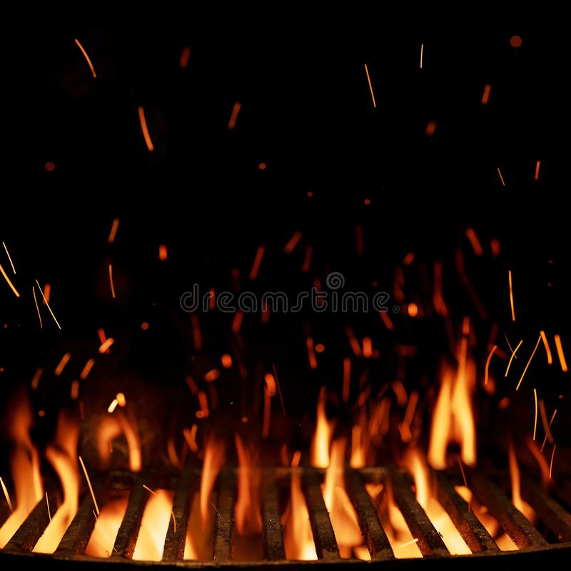 Empty grill grid isolated on black stock photography