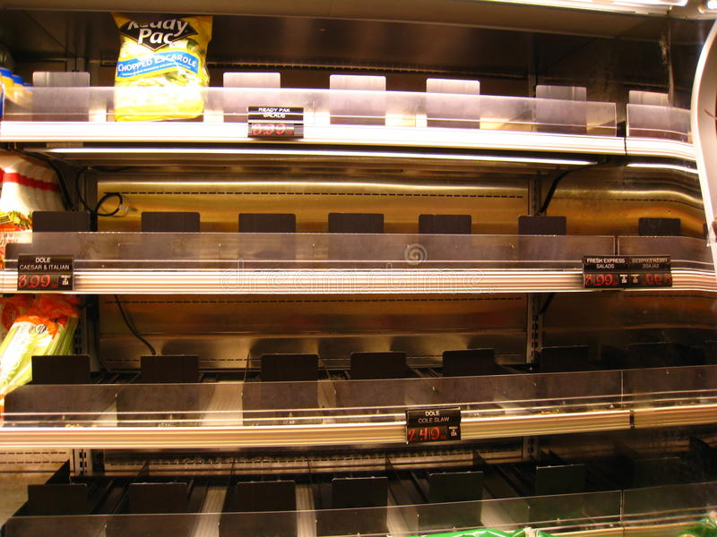 Empty grocery store during hurricane Irene. As Hurricane Irene approached on 8/27/11, groceries in the target area emptied out of essential non-perishable royalty free stock image