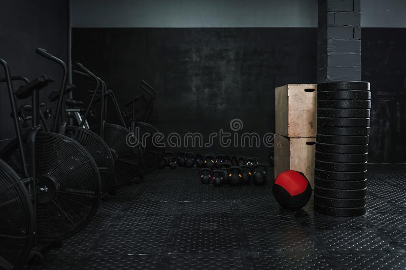 Empty gym with crossfit equipment. Copy space royalty free stock photography