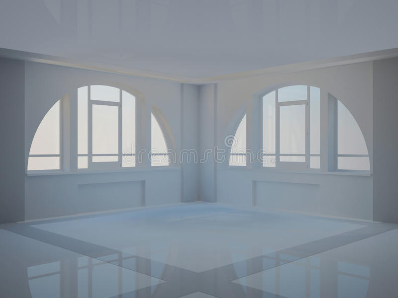 Empty Hall With Two Large Arched Windows Stock Image