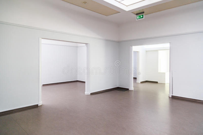 Empty halls. Empty (art) gallery. Can be used as concept for bankruptcy, or stolen artwork royalty free stock images