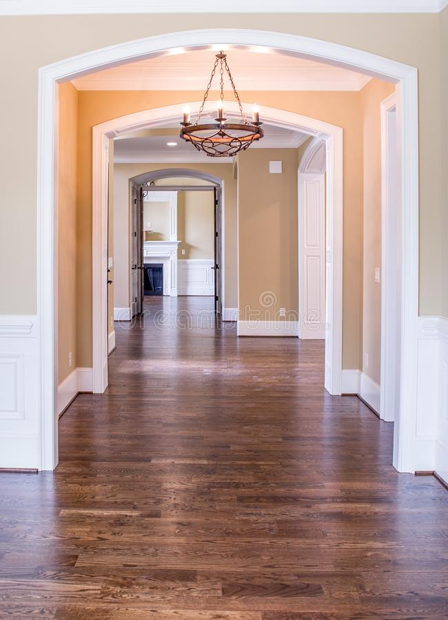 Empty hallway inside home stock photo