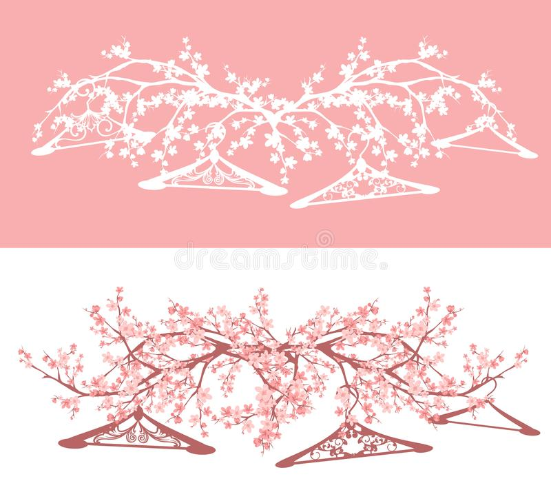 Empty hangers and blooming spring season branches vector. Empty coat hangers among blooming sakura tree branches - spring season sale concept vector design set stock illustration
