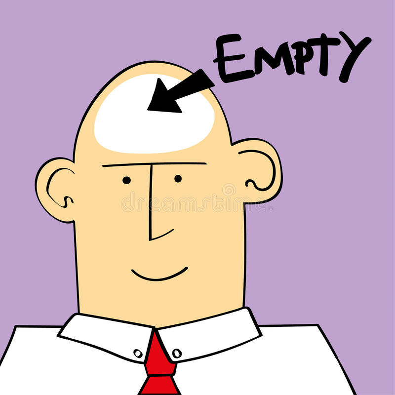 Empty Headed Person. Vector illustration of a man or boy with the word empty and an arrow pointing to his head stock illustration
