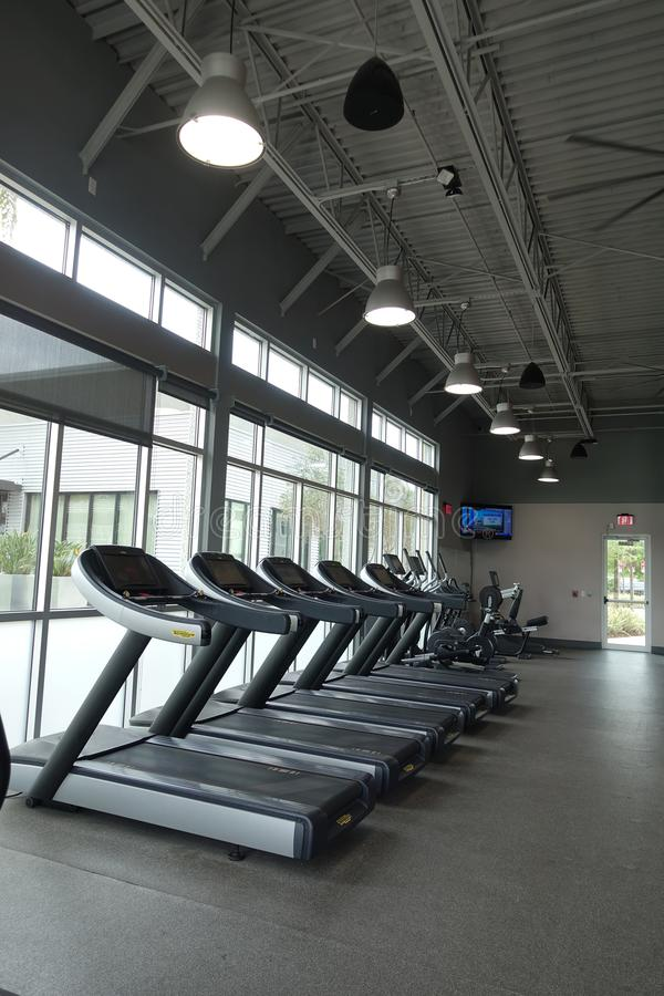 Empty health club in March royalty free stock image