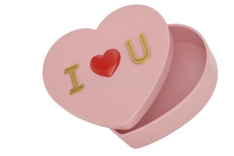 Empty heart valentine box on white background. 3D illustration.  royalty free illustration