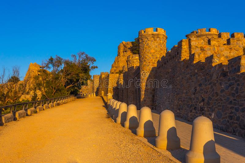 Empty heritage unusual famous place Castillitos Battery, ancient landmark on coast of Mediterranean Sea, fortification. Fortified wall of Cartagena city royalty free stock images