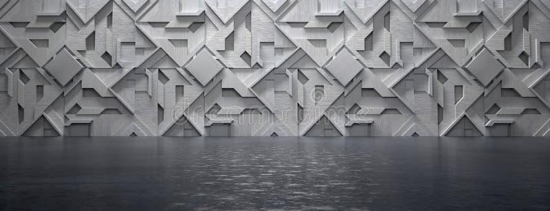 Empty High Tech Futuristic Room 3D Illustration royalty free illustration