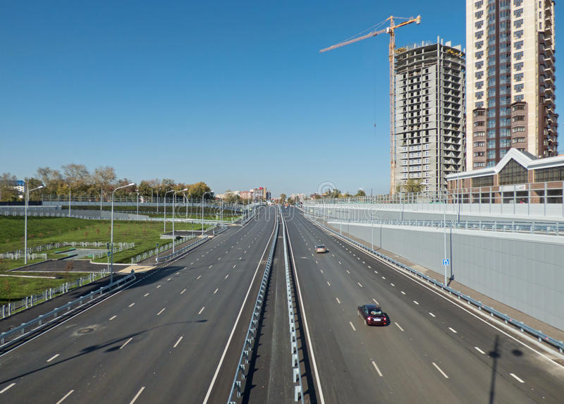 Empty highway, outgoing to the horizon. Sunny autumn day. royalty free stock images