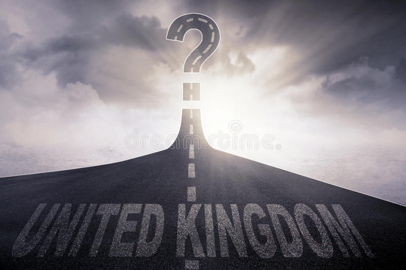 Empty highway with word of United Kingdom. Picture of empty highway with word of United Kingdom in and question mark at the end of a road stock illustration