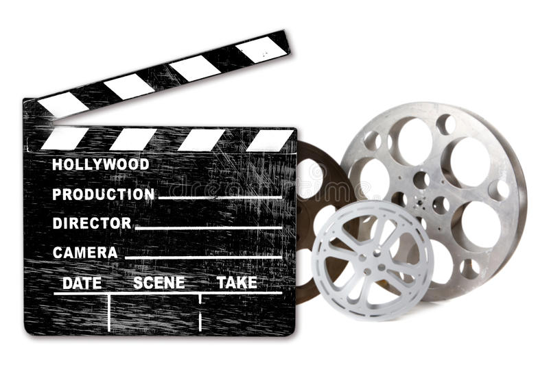 Empty Hollywood Film Canisters and Clapper on Whit. Hollywood FIlm Canisters Isolated on White With Directors Clapboard royalty free stock image