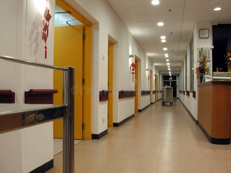 Empty hospice corridor stock photos